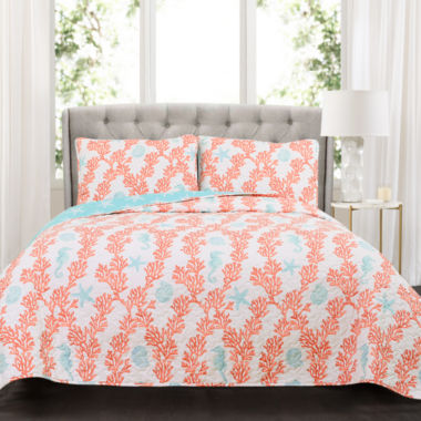 Lush Décor Dina Coral Quilt 3Pc Set