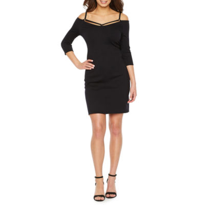 Bold Elements 3/4 Sleeve Strappy Off the Shoulder Dress