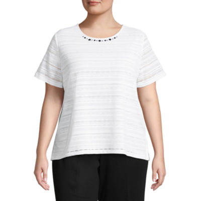 Alfred Dunner Play Date Texture Tee- Plus