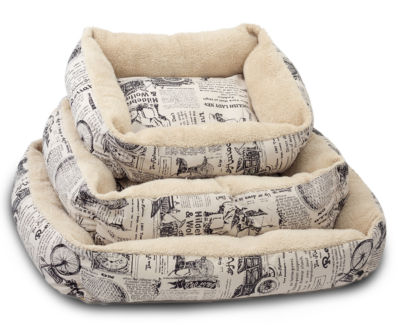 Paws & Pals 1800's Newspaper Design Pet Bed