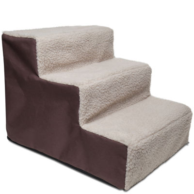 Paws & Pals 3-Step Dog Stairs - Brown