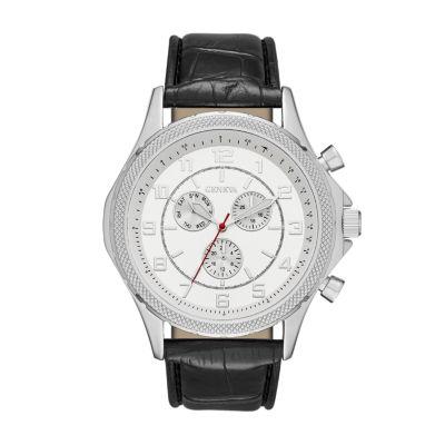 Geneva Mens Silver-Tone and Black Strap Watch