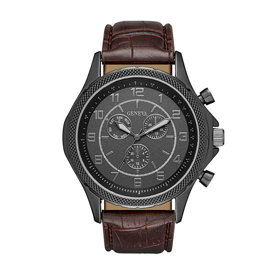 Geneva Mens Black and Brown Strap Watch
