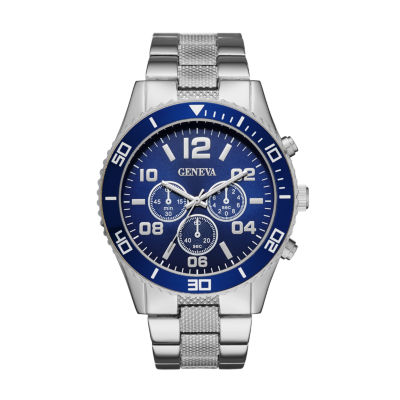 Geneva Mens Silver-Tone and Blue Bracelet Watch