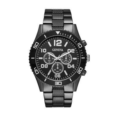 Geneva Mens Black Dial and Black Strap Watch