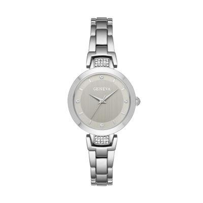 Geneva Womens Silver Tone Bracelet Watch-Fmdjm189