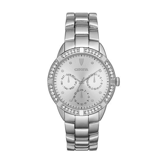 Geneva Womens Silver Tone Bracelet Watch-Fmdjm193