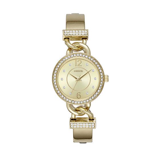 Geneva Womens Gold Tone Bracelet Watch-Fmdjm195