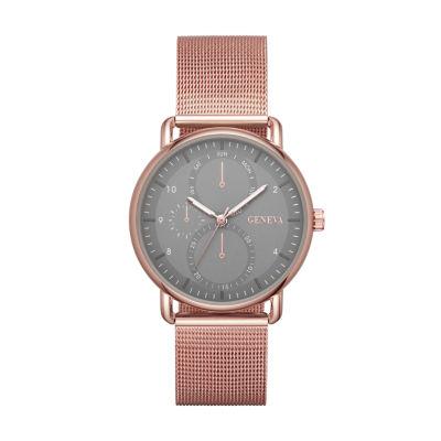 Geneva Womens Rose Goldtone Strap Watch-Fmdjm196