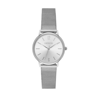 Geneva Womens Silver Tone Strap Watch-Fmdjm197