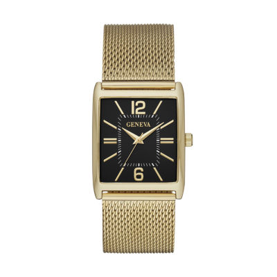 Geneva Mens Gold Tone Strap Watch-Fmdjm583