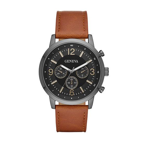 Geneva Mens Brown Strap Watch-Fmdjm585
