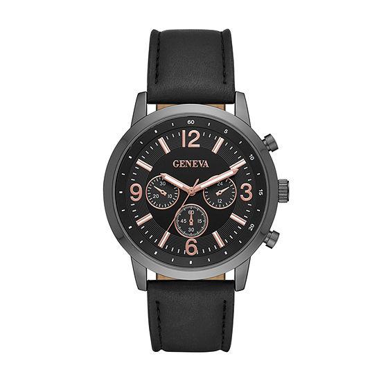 Geneva Mens Black Strap Watch-Fmdjm586