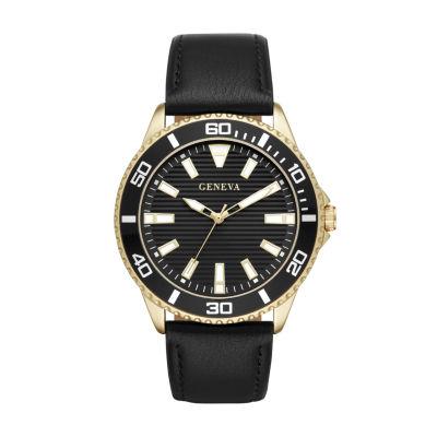 Geneva Mens Black Strap Watch-Fmdjm587