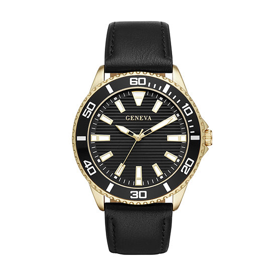 Geneva Mens Black Strap Watch-Fmdjm587
