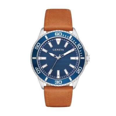 Geneva Mens Brown Strap Watch-Fmdjm588