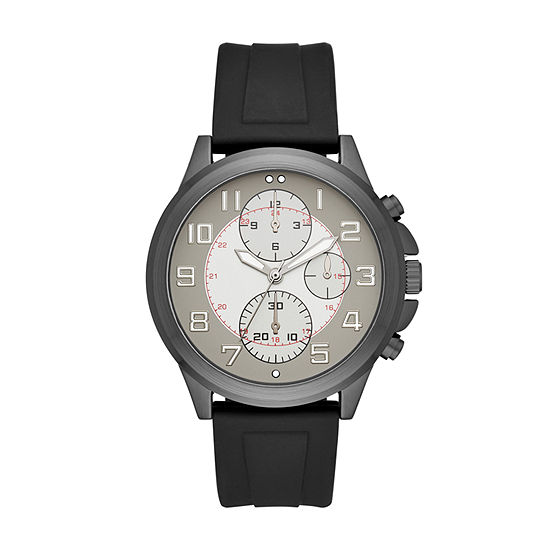 Geneva Mens Black Strap Watch-Fmdjm589