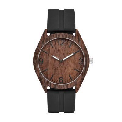 Geneva Mens Black Strap Watch-Fmdjm590