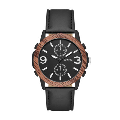 Geneva Mens Black Strap Watch-Fmdjm591
