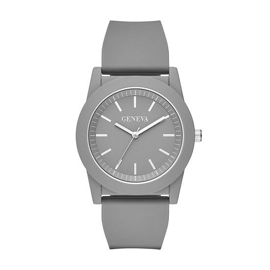 Geneva Mens Gray Strap Watch-Fmdjm592