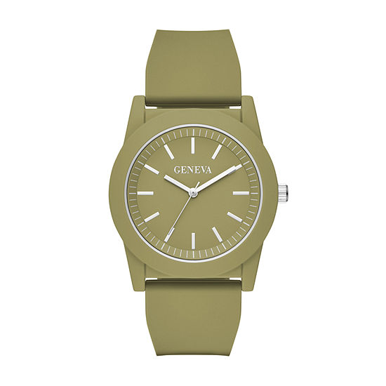 Geneva Mens Green Strap Watch-Fmdjm594