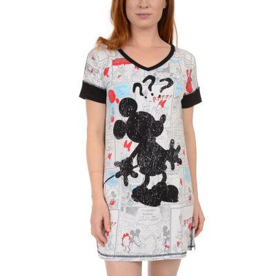 Disney Womens-Juniors Jersey Nightshirt Short Sleeve V Neck
