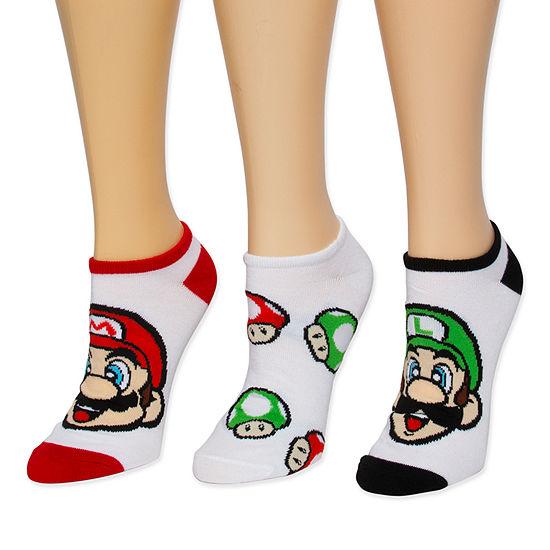 Super Mario Bros No Show Socks Womens