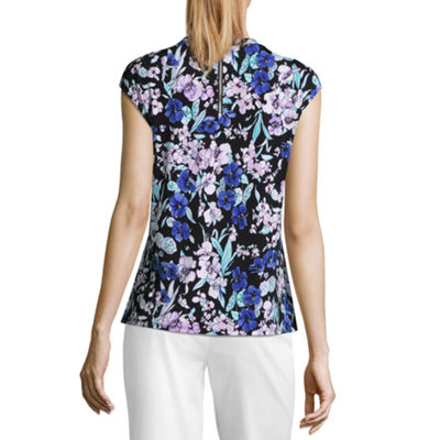 Liz Claiborne Cap Sleeve Twist Neck Top - Tall
