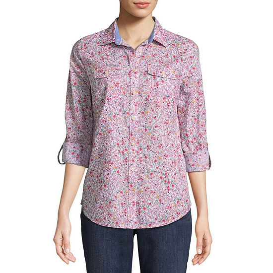 St. John's Bay Relaxed Fit Long Sleeve Button-Front Shirt - Tall
