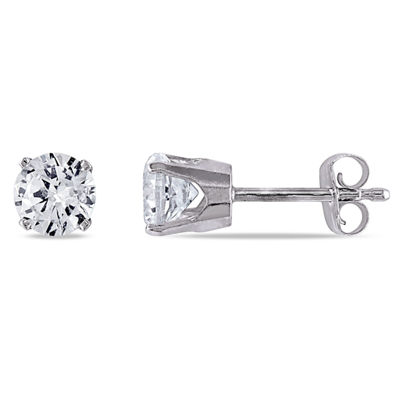 Lab Created White Sapphire 10K White Gold 5mm Round Stud Earrings