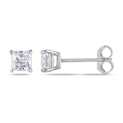 Lab Created White Sapphire 10K White Gold 4mm Square Stud Earrings