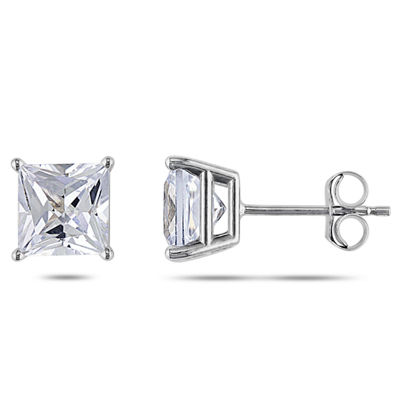 Lab Created White Sapphire 10K White Gold 6.2mm Square Stud Earrings