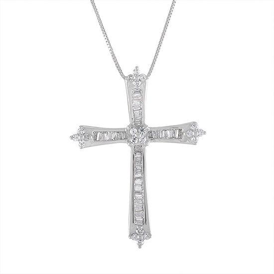 Womens 1/3 CT. T.W. Genuine White Diamond 10K White Gold Cross Pendant Necklace