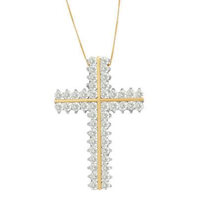 Womens 4 CT. T.W. White Diamond 10K Gold Pendant Necklace
