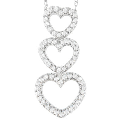Womens 1/2 CT. T.W. White Diamond 10K White Gold Heart Pendant Necklace