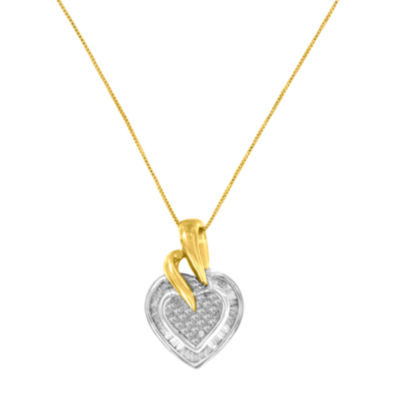 Womens 1/2 CT. T.W. White Diamond 10K Two Tone Gold Heart Pendant Necklace