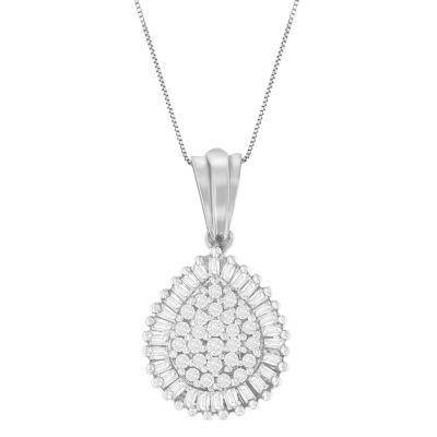 Womens 1/2 CT. T.W. White Diamond 10K White Gold Pendant Necklace