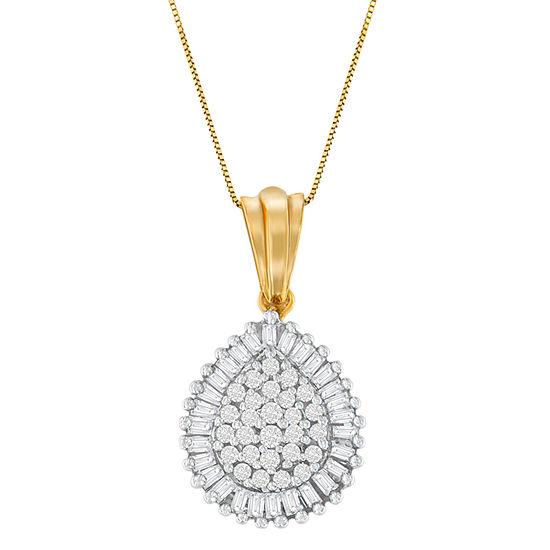 Womens 1 2 Ct Tw Genuine White Diamond 10k Gold Pendant Necklace