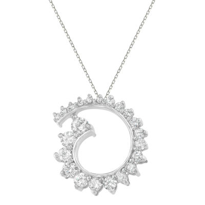 Womens 1 CT. T.W. White Diamond 10K White Gold Pendant Necklace