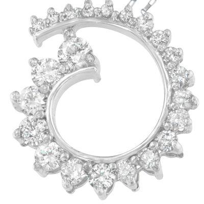 Womens 1 CT. T.W. White Diamond Pendant Necklace