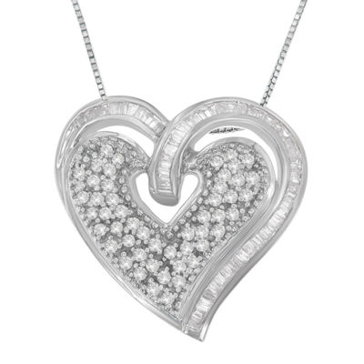 Womens 3/4 CT. T.W. White Diamond 10K White Gold Heart Pendant Necklace