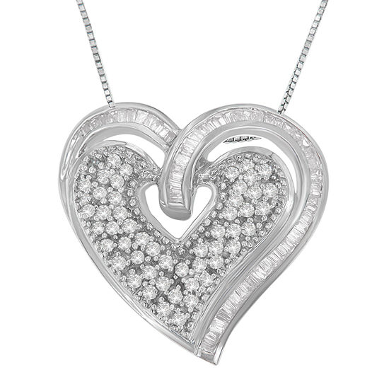 Womens 3/4 CT. T.W. Genuine White Diamond 10K White Gold Heart Pendant Necklace