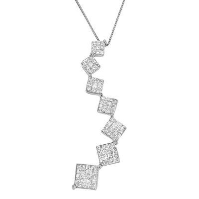 Womens 1 CT. T.W. White Diamond 10K White Gold Pendant Necklace