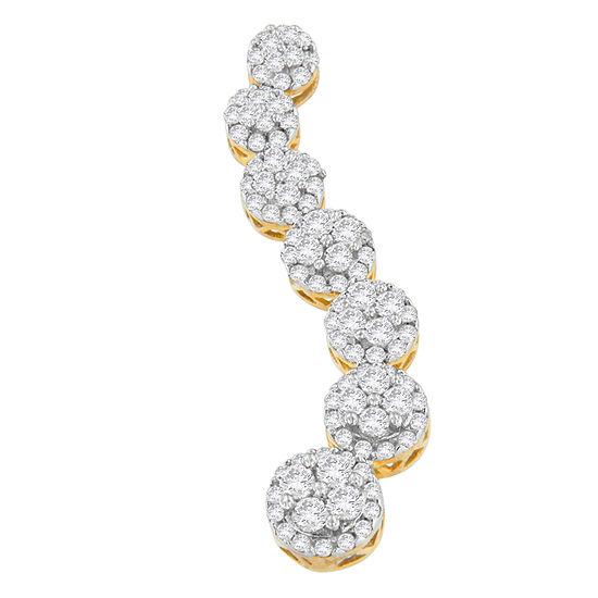 Womens 1 Ct Tw Genuine White Diamond 10k Gold Pendant Necklace