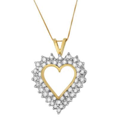 Womens 3 CT. T.W. White Diamond 10K Gold Pendant Necklace