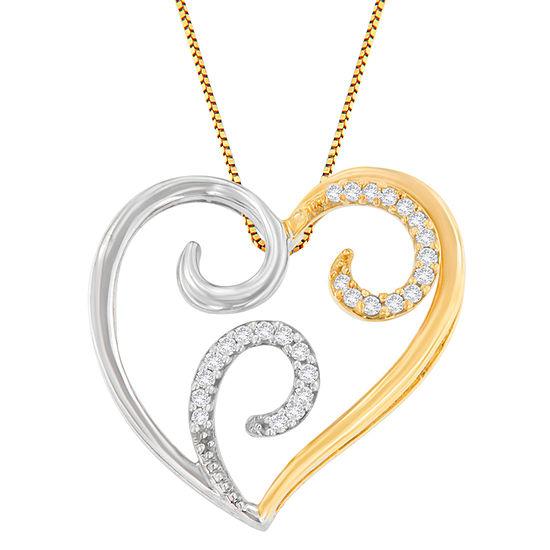 Womens 1/10 CT. T.W. Genuine White Diamond 10K Two Tone Gold Heart Pendant Necklace