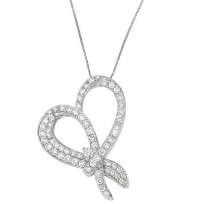 Womens 1 CT. T.W. White Diamond 10K White Gold Heart Pendant Necklace