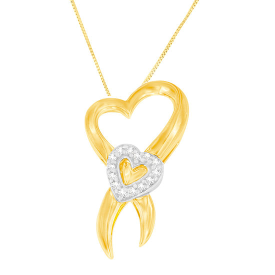 Womens 1 10 Ct Tw Genuine White Diamond 10k Two Tone Gold Heart Pendant Necklace
