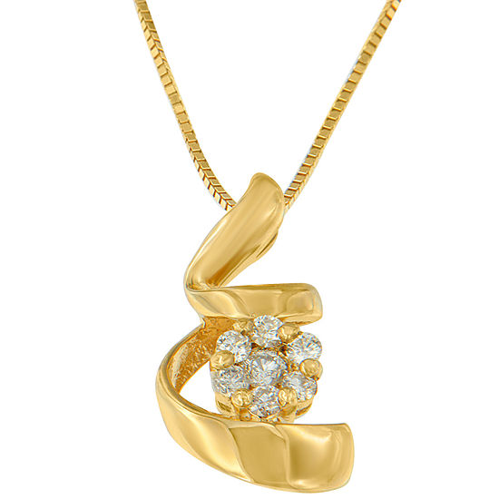 Womens 1 4 Ct Tw Genuine White Diamond 10k Gold Pendant Necklace