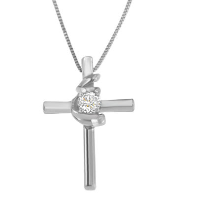 Womens 1/10 CT. T.W. White Diamond 10K White Gold Cross Pendant Necklace